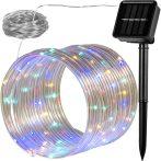 Napelemes lámpa fényfűzér ledszalag 10 méter 100 db színes akkumulátoros vízálló