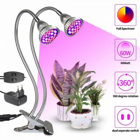 60W flexibilis csíptethető full spektrumu növénynevelő lámpa 40 LED-es dupla fejű asztali lámpa ,2x