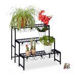 Virágtartó lépcsőzetes kültéri vagy beltéri tartó növénytartó állvány polc