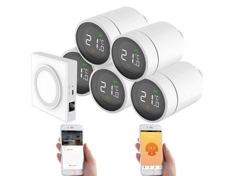 Intelligens radiátor termosztát 5 darabos szett alkalmazásvezérléssel hangvezérléssel ZigBee vezérlővel