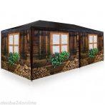 Faház mintás rendezvénysátor kerti pavilon 6 oldalsó fóliával 3x6 m kerti partisátor