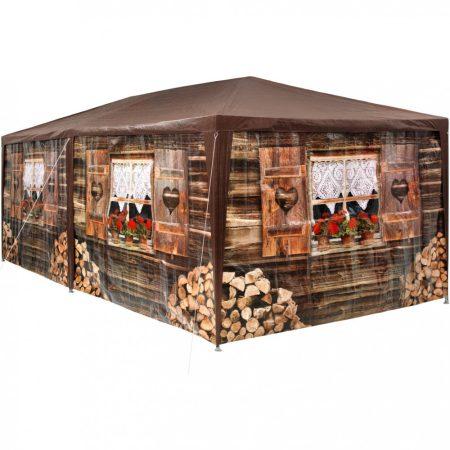 Házmintás rendezvénysátor kerti pavilon 6 oldalsó fóliával 3x6 m kerti partisátor összerakható sörsá
