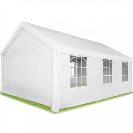 Kerti pavilon 6x4m parti sátor 4 oldalsó fóliával fehér