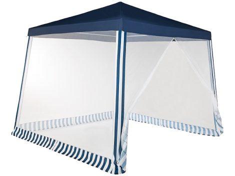 Pavilon sátor szúnyoghálóval, 300x300x236 cm, kék/fehér