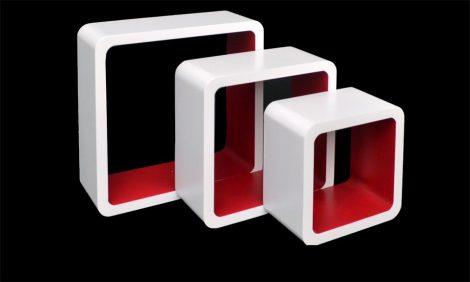 Kocka polc retro fehér piros