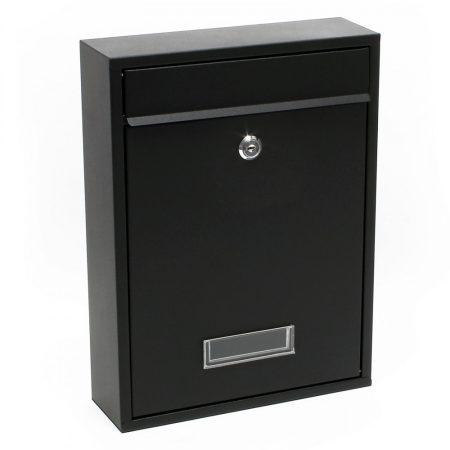 Nagy méretű horganyzott acél postaláda fekete, fehér, szürke, antracit színben névtartó ablakkal egy