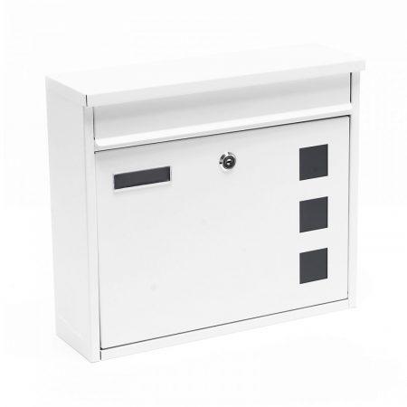 Postaláda galvanizált acél anyagból fehér színben névtartóval ablakokkal minimál desing megjelenés