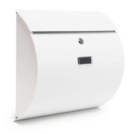 Rozsdamentes acél íves postaláda fehér színben, modern megjelenés