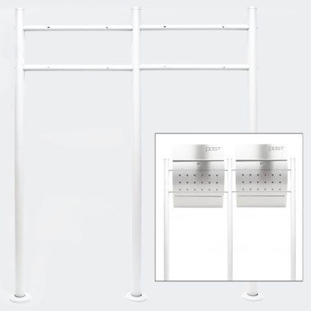 Postaláda dupla tartó állvány előkerti levélszekrény tartóláb 2 postaláda számára fehér színben