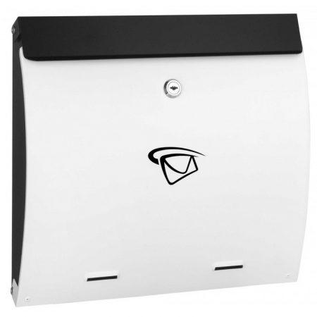 Fekete-fehér postaláda. Csinos, vékony fekvő levélszekrény