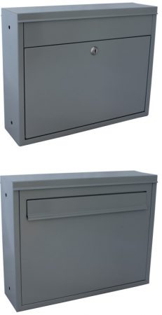Két oldalról használható postaláda kétoldalú kerítésre szerelhető levélszekrény világos szürke színb