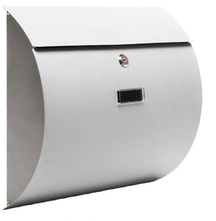 Rozsdamentes acél íves postaláda szürke színben, modern megjelenés