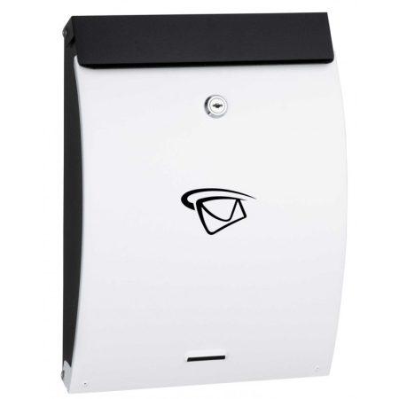 Fekete-fehér postaláda. Csinos, vékony álló levélszekrény