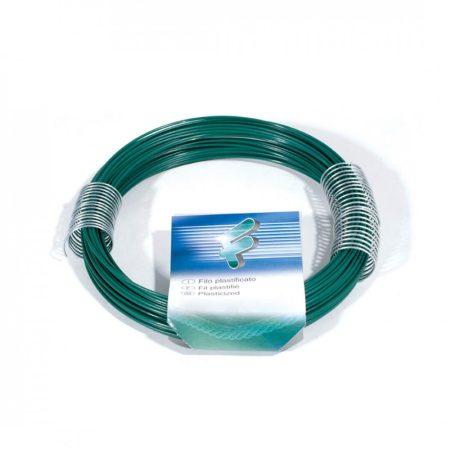 PVC bevonatos zöld horganyzott huzal 0,9x30 m  ø 0,9 mm műanyag bevonatos lágyacél kötöződrót 30 mét