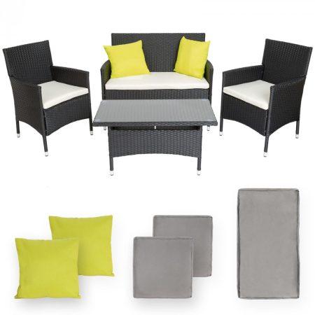 Rattan ülőgarnitúra alumínium vázas 2 szék, 1 kanapé, 1 asztal üveglappal, cserélhető vajszínű és sz