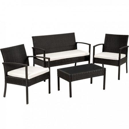 Rattan fekete kerti ülőgarnitúra 2 szék, 1 kanapé, 1 asztal üveglappal, párnahuzattal