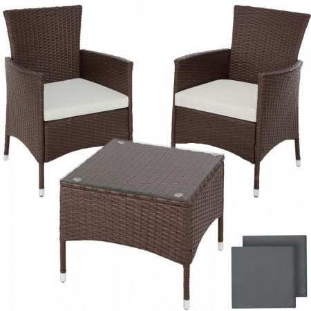 Rattan kerti ülőgarnitúra alumínium vázas garnitúra 2 szék, 1 asztal üveglappal, cserélhet