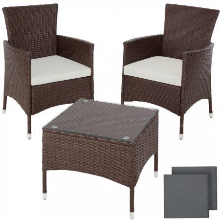 Rattan kerti ülőgarnitúra acél vázas garnitúra 2 szék, 1 asztal üveglappal, cserélhető párnahuzattal barna színű