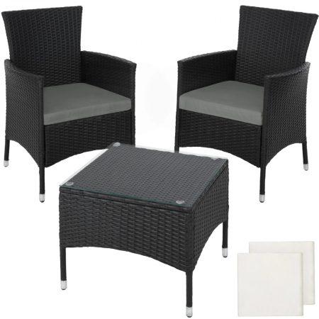 Rattan kerti ülőgarnitúra acél vázas garnitúra 2 szék, 1 asztal üveglappal, cserélhető párnahuzattal