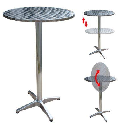 Rendezvény asztal állítható magasságú lehajtható rozsdamentes asztallapú fém asztal könyöklő 74-114