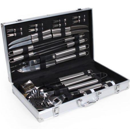 Rozsdamentes grillkészlet 25 db-os készlet aluminium táskában kés, fogó, tisztító kefe