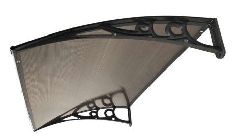 ITALFORM barna előtető 150x75 cm fekete keret bronz üregkamrás polikarbonát.  A két tartókar között