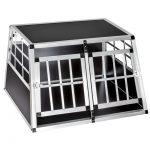 Dogbox alumínium kutya szállító autóba praktikus mobil autós ketrec dupla 89x69x50 cm