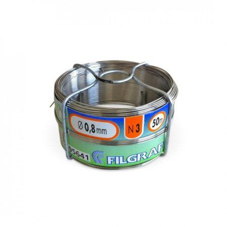 Saválló acél huzal rozsdamentes drót 0,8x50 m  ø 0,8 mm inox kötöződrót 50 méteres tekercsben