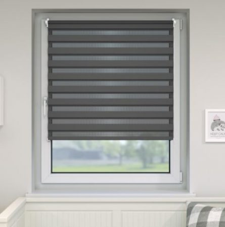 100x160 dupla roló sávos roló függöny szürke zebracsíkos ablak árnyékoló. 90x150-es ablakhoz is jó, de a hossza állítható illetve teljesen fel is tekerhető