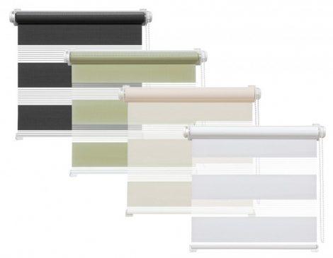 Sávos roló függöny, széles dulpa roló zebracsíkos 125x160 zöld szürke bézs