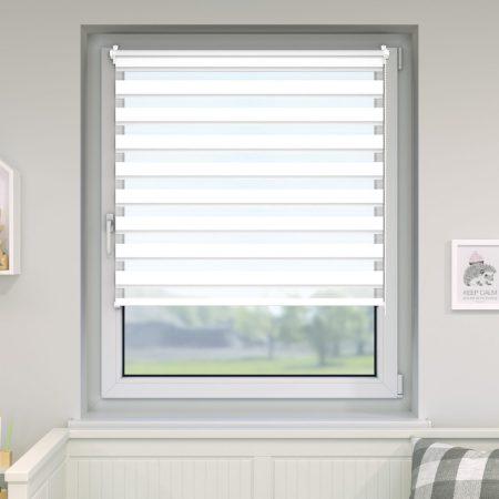 Sávos roló függöny, széles dulpa roló zebracsíkos 125x160 fehér ablak árnyékoló.