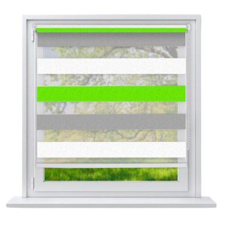 80x230 Sávos roló függöny zöld-fehér-szürke fúrás nélküli ablak árnyékoló