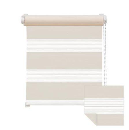 90x160 Sávos roló függöny széles dupla roló zebracsíkos bézs ablak árnyékoló. 90x150-es ablakhoz is jó, de a hossza állítható illetve teljesen fel is tekerhető