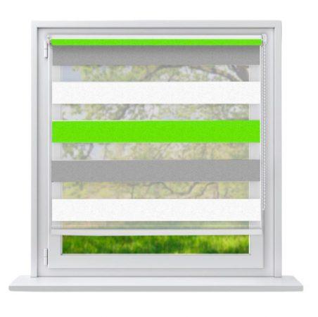 90x230 Sávos roló függöny zöld-fehér-szürke fúrás nélküli ablak árnyékoló