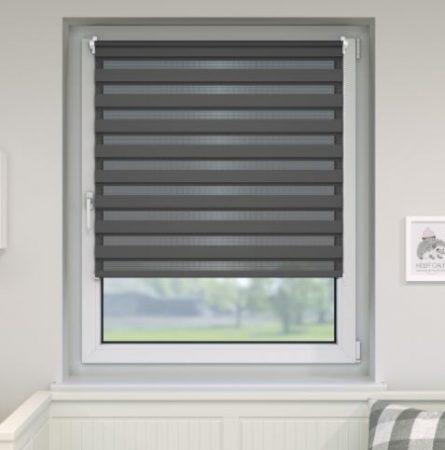 95x160 dupla roló sávos roló függöny zebracsíkos szürke ablak árnyékoló. 90x150-es ablakhoz is jó, de a hossza állítható illetve teljesen fel is tekerhető