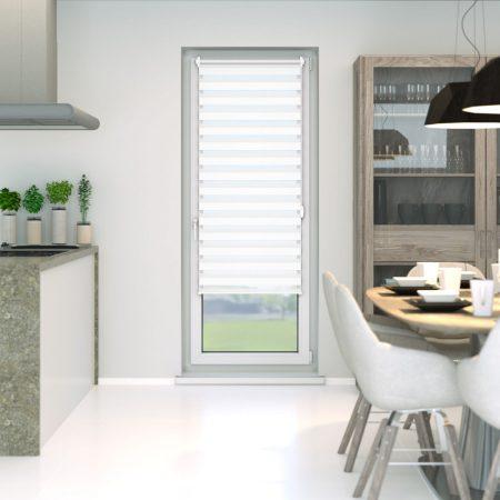 Sávos roló függöny, széles dulpa roló zebracsíkos 95x230 fehér ablak árnyékoló. A hossza állítható i