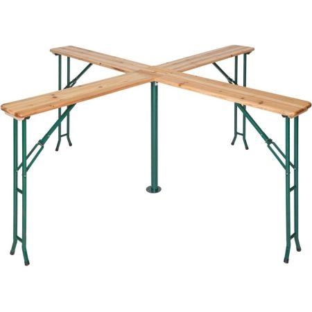 Sörasztal kereszt alakú kerti piknikasztal összecsukható fém lábakkal
