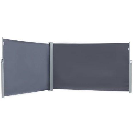 Szélfogó térleválasztó kültéri és beltéri paraván dupla méret 160x600 cm sötét szürke antracit