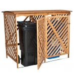Dekoratív szemeteskuka tároló 2db 80-240 literes kukához fenyő és fém szerkezet