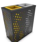 2 tartályos fém szelektív hulladékgyűjtő állomás 2x50/60 literes