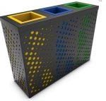 3 tartályos fém szelektív hulladékgyűjtő állomás 3x50/60 literes