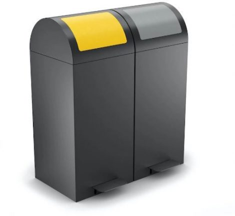 2 tartályos szelektív hulladékgyűjtő pedállal antracit színben 50/60 literes
