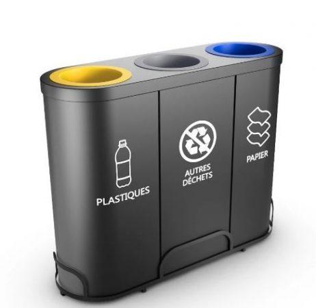 3 rekeszes acél szelektív hulladékgyűjtő 3x 50/60 literes