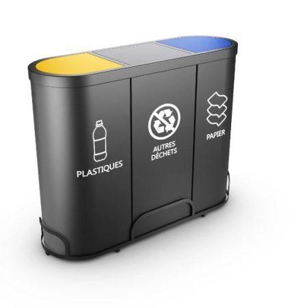 3 rekeszes acél szelektív hulladékgyűjtő lengőfedéllel 3x 50/60 literes
