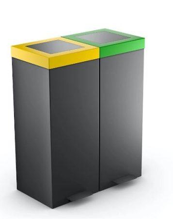 2 tartályos pedálos szelektív hulladékgyűjtő 2x 50/60 literes
