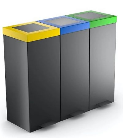 3 tartályos pedálos szelektív hulladékgyűjtő 3x 50/60 literes