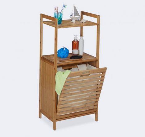 Bambusz szennyeskosár és fürdőszoba polc 2 polccal