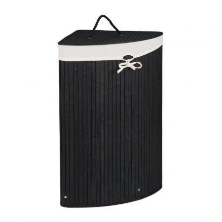 Bambusz összecsukható sarok szennyestartó kosár 60 literes fekete színben