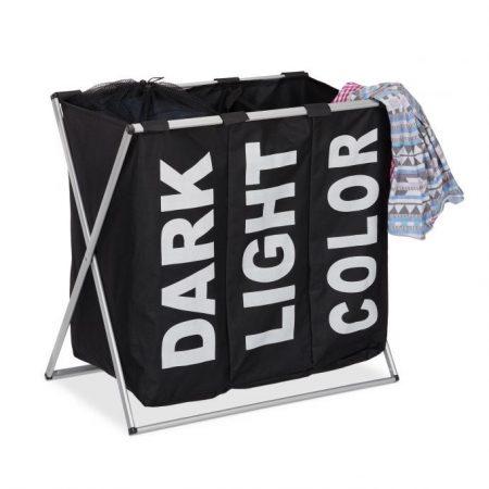 3 rekeszes szennyestartó kosár 90 literes fekete színben