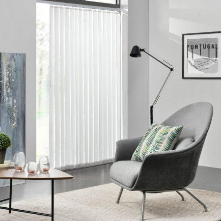 Szalagfüggöny 120 cm széles fehér lamellás függöny A 250 cm hosszú lamellák szabadon rövidíthetők, p